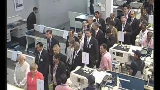 PM Modi & German Chancellor Angela Merkel at Bosch Factory in Bengaluru