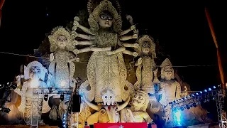 World's Largest Durga Idol 88ft high & 80ft wide inaugurated - Durga Puja