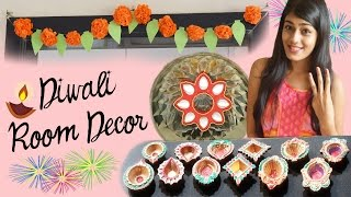 DIY Diwali Room Decor - Paper Flowers, Floating Kundan & Diyas