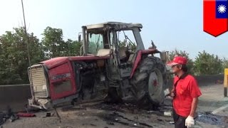 Farm tractor causes highway accident crash, farmer breaks law by driving on highway