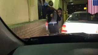 McDonald's drive through window fight: unhappy customer drags employee through window
