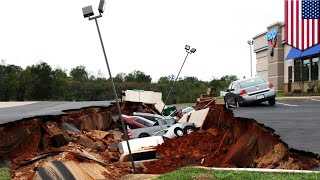 Cars fall into giant hole at Mississippi IHOP parking lot, experts say not a sinkhole - TomoNews