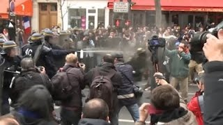 French Police Use Tear Gas On Protesters