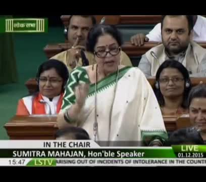 Smt. Kirron Anupam Kher speech in Lok Sabha on debate on Intolerance: 01.12.2015