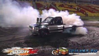 GUSBOY MOTOR EX CRUISE FOR CHARITY 12 SMASHING TYRES AT SYDNEY DRAGWAY