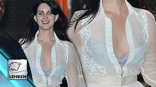 Lana Del Rey Flashes Ample CLEAVAGE In Sheer Shirt