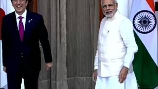 PM Modi meets Japanese PM Abe at Hyderabad House, New Delhi