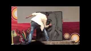 Glue Glitter Painting performance by Vivek Patil at Firodiya Karandak