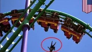 Roller coaster death compilation - woman falls from amusement park ride
