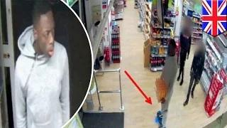 Security camera footage shows hoverboarding thief stealing case of Lucozade