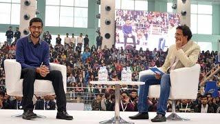Google CEO Sundar Pichai interacts with University students in Delhi