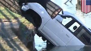 Hero tries to save drowning man whose car plunged into Oakland Estuary
