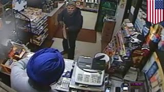 Robbery fail: masked man with shotgun chased away by feisty convenience store clerk