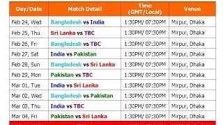Asia Cup T20 2016 Schedule & Full Time Table