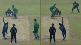 Kamindu Mendis, Sri Lankan player bowls with both hands against Pakistan