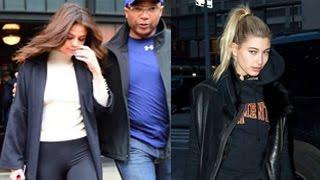 Selena Gomez & Hailey Baldwin Have An Awkward Run-In At Super Bowl