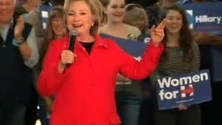 Clinton Imitates Barking Dog at Campaign Stop