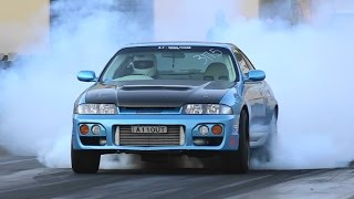 1000 HP SKYLINE STREET CAR ALLOUT TESTING AT SYDNEY DRAGWAY
