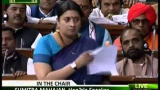Smriti Irani's speech in Lok Sabha on JNU and Rohit Vemula issues