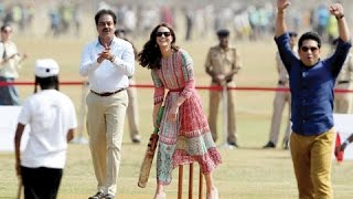 Prince William and Kate Middleton Play Cricket With Sachin Tendulkar