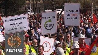German workers rally over steel crisis