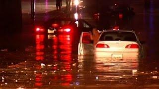Raw: Flash Floods Trap Cars in San Antonio