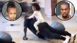 North West & Kanye West Workout Together - Cute VIDEO