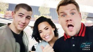 Demi Lovato, Nick Jonas & James Corden Join In For A Threesome On Carpool Karaoke