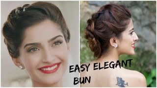 Sonam Kapoor's GLAMOROUS Hairstyle - 5 Minute Romantic Bun Hairstyle  EASY Bun Hairstyle