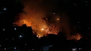Raw: Aerials of Sao Paulo Shanty Town Fire