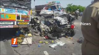 CCTV Visuals Of Horrible Road Accident Car Crushes Between Two Lorries 5 Of Family Dies | iNews