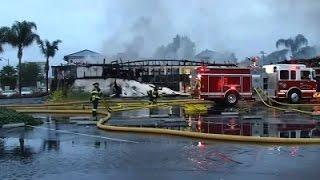 Raw: California Firefighters Battle 5-Alarm Fire