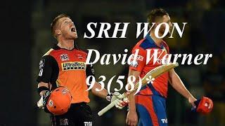 IPL 2016 Qualifier 2: GL Vs SRH - David Warner 93(58) and Bipul Sharma Helps SRH Win