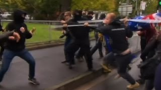 Raw: Clashes Erupt at Opposing Melbourne Rallies