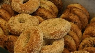 A slice of different kinds of NYC bagels