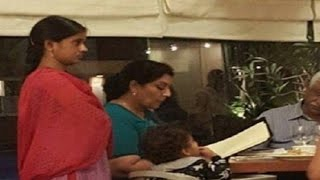 Ex-Congress minister dines while nanny waits standing