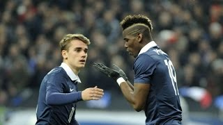 Paul Pogba and Antoine Griezmann in training