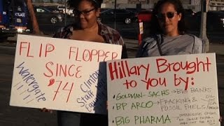 Supporters, Opponents Outside Clinton Event