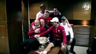 Djokovic hugs to members of his team after win