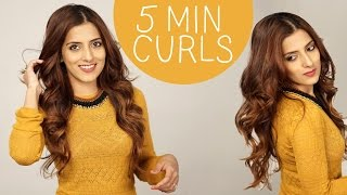 How To Curl Your Hair In 5 Minutes | Big FAT Voluminous Curls - Long Lasting