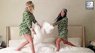 Kourtney & Khloe Kardashian $EXY Pillow Fight