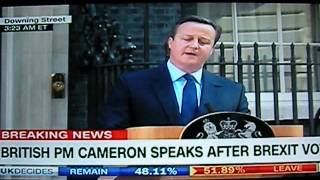 British Prime Minister David Cameron Resigning After UK Votes To Leave The EU, BREXIT Results