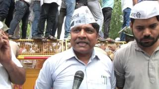 Protest of AAP Dalit MLA and ST SC wing at BJP Headquarters against assaulting AAP dalit councillor