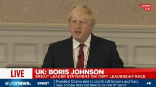 LIVE: Boris Johnson's shock announcement he will not run for Tory leadership
