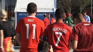 Football fans arrive at Lyon's stadium for Wales-Portugal clash