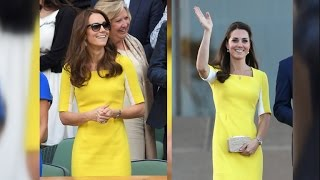Kate Middleton Wows at Wimbledon in a Recycled Yellow Dress -- and Meets Serena Williams!