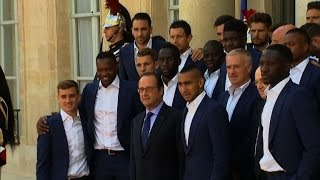 Francois Hollande receives French football team at the Elysee