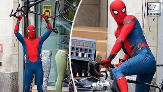 Tom Holland SPOTTED Filming Spider-Man: Homecoming | On Set Pictures