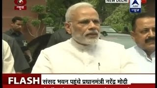 PM Modi briefs media as he arrives at the Parliament for Monsoon Session