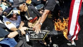 Trump protester sets self on fire while trying to burn flag
